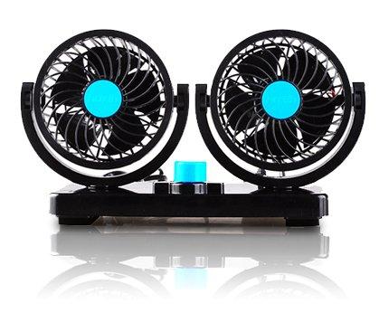 角度調節 車内 シガー 風量調節 車載扇風機 ツインファン (12V/ブルー)